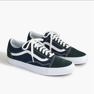 Vans for J.Crew Old Skool in blue & green suede